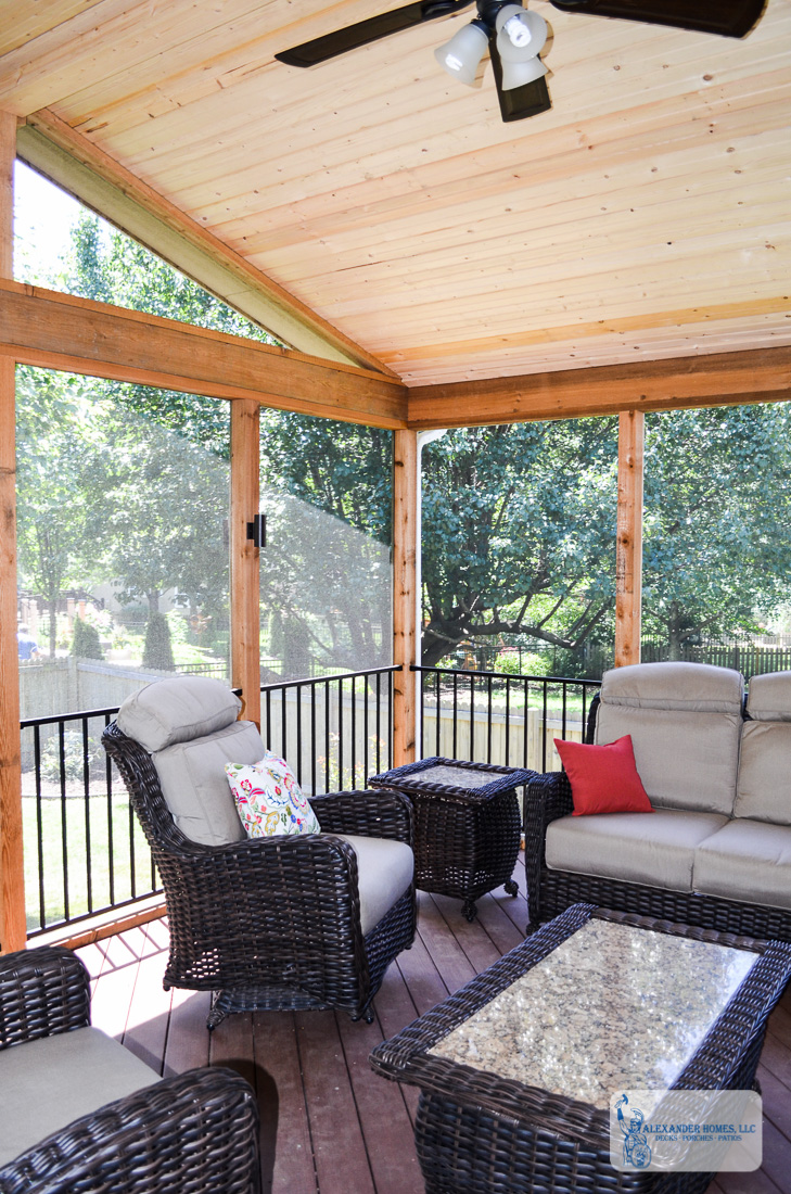 new screened-in, covered deck