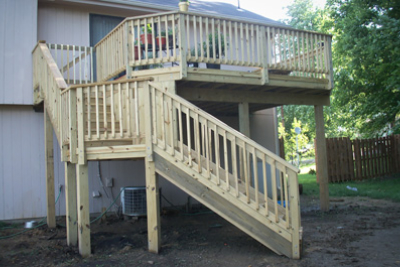 Treated Deck with Angled Landing