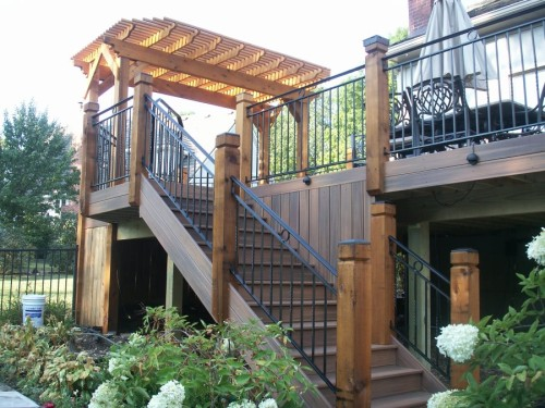 Long wooden stairs