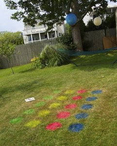 colorful circles in the ground