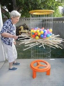 Old woman having a game