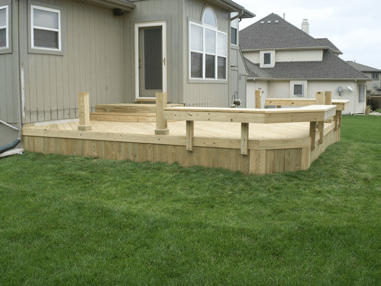 Treated Deck with Benches- No Railings-Raymore, MO ...